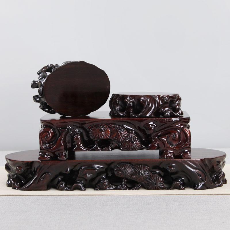 红木雕刻工艺品摆件底座实木质花盆根雕可挖槽长方形玉石木托底座