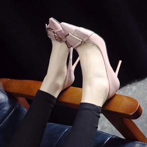 17新品春款高跟鞋细跟尖头伴娘单鞋浅口中跟小码大码黑色工作鞋女
