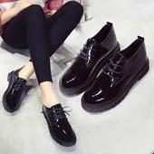 春秋新款韩版松糕厚底女鞋英伦风复古小皮鞋学生圆头漆皮系带单鞋