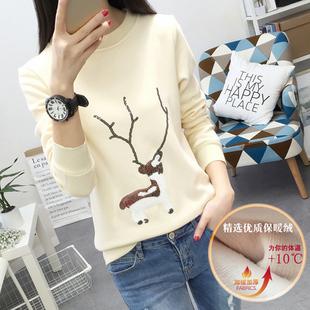 冬季韩版保暖加绒长袖t恤女宽松大码显瘦加厚绣花打底衫上衣外套