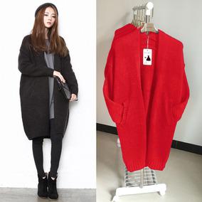 毛衣女秋冬韩版加厚针织开衫中长款春季宽松蝙蝠袖茧型大衣外套