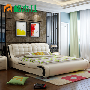 gege shi leather bed 18 m soft bed double bed modern minima