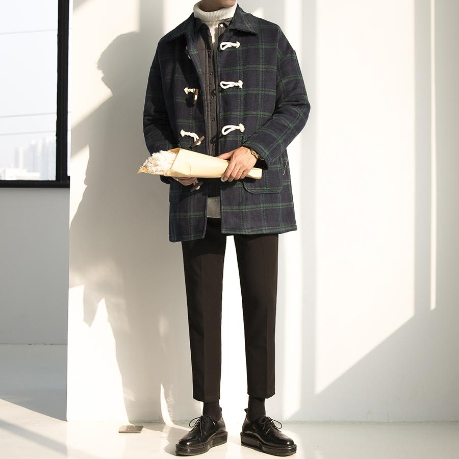 大赖自制 冬季韩版学院风宽松学生牛角扣毛呢大衣男中长款外套潮