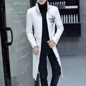 冬季防风衣男士韩版修身帅气披风超长款过膝外套青年加厚皮衣男潮