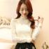 2017春夏新款韩版蕾丝打底衫女装长袖白色时尚百搭高领短款上衣潮