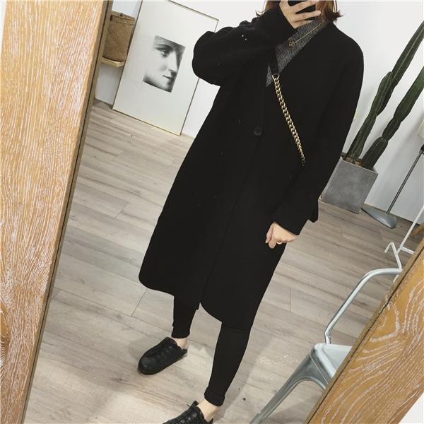 秋冬新款韩国茧型黑色中长款针织开衫加厚毛衣外套女大衣简约复古