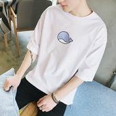 美特斯邦威t恤男短袖夏季新款帅气文艺学生圆领纯棉五分袖上衣潮