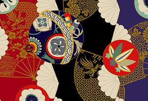 日本和风纯棉印花服装面料手工diy布料 烫金扇面多彩团花 半米价
