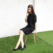特 限时打折 时尚潮牌 日系暗黑风格 花边装饰 混纺人造丝 连衣裙