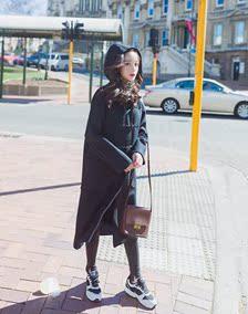 2016韩国秋冬季加厚宽松牛角扣显瘦中长款连帽呢子大衣毛呢外套女