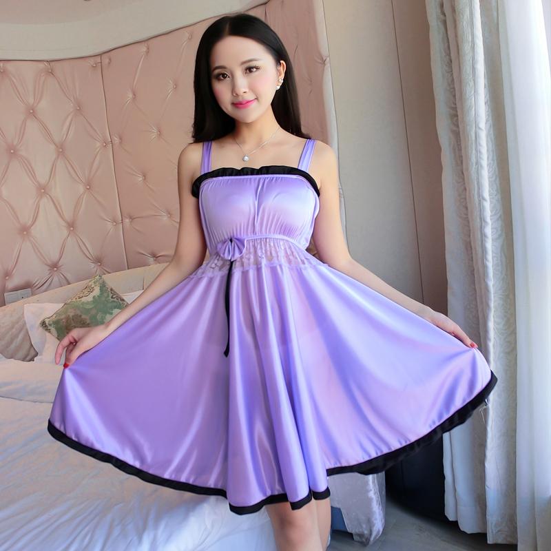 女士短裙大码冰丝家居服睡衣夏季睡裙性感吊带诱惑真丝