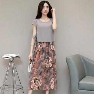 中长连衣裙夏装假两件真丝雪纺韩版印花大码女士气质时尚A字裙潮