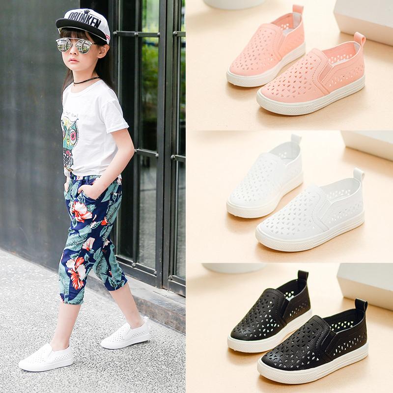 鏤空男童透氣板鞋潮兒童小白鞋韓版一女童夏季腳蹬