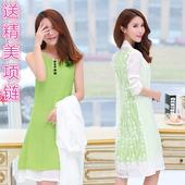 文艺复古棉麻连衣裙民族风两件套春季中长款 套装 新款 2017春夏装