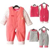 0-123岁婴儿冬季男女宝宝中厚棉衣背带裤套装婴幼外出服纯棉保暖