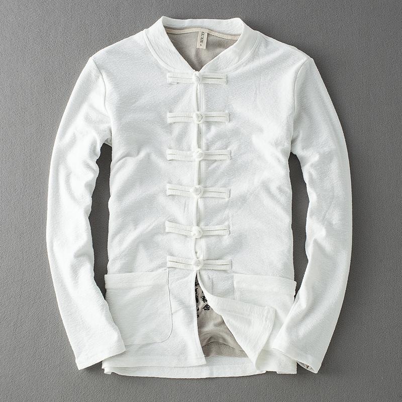 北玄中国风秋季修身唐装长袖衬衫男士中式棉麻复古中青年打底衫