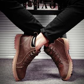 冬季中帮马丁靴男靴子韩版潮流短靴潮鞋高邦皮鞋英伦风黑棕色学生