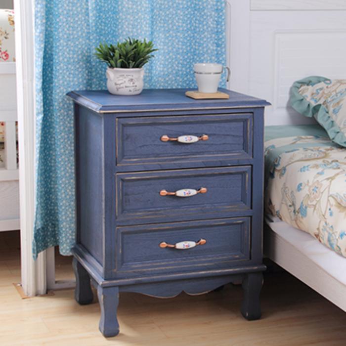 欧式复古实木床头柜韩式田园简约收纳柜做旧地中海储