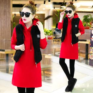 中长款卫衣三件套加厚加绒女装冬季时尚休闲外套女秋冬运动套装裙