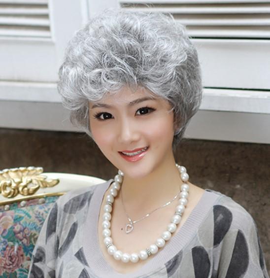 舞台表演道具假发女士扮老奶奶老太太短卷发扮演老人cos花白色发
