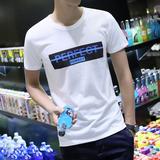 2017夏季男士短袖t恤圆领韩版修身印花青年大码半袖上衣男生潮流