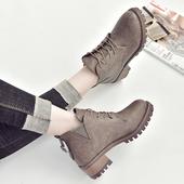 英伦风复古粗跟马丁靴女秋冬季学生系带休闲短靴女百搭短筒女靴潮