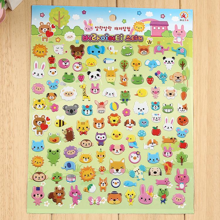 儿童立体贴纸泡泡贴画卡通小动物数字字母鱼汽车蛋糕换装笑脸粘贴