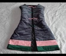 大码 连衣裙 盘扣灯芯绒加厚夹棉棉衣背心中长款 女装 原创秋冬季新款