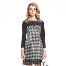 ANNAKRO/安娜蔻2016女装秋新款七分袖蕾丝边格子连衣裙