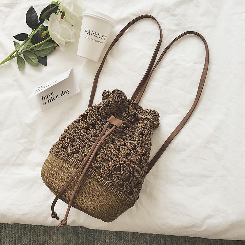 太阳的后裔乔妹最爱水桶包编织包包沙滩女包草编包包钩针镂空包
