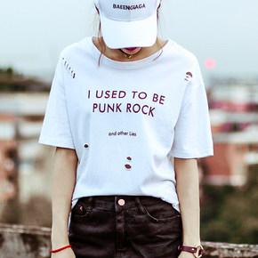 【天天特价】破洞字母纯棉短袖T恤女韩版学生体恤简约白色打底衫
