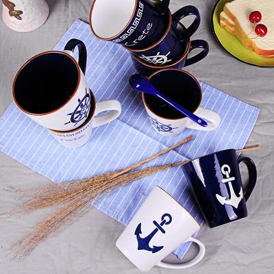 海军风色釉卡通创意茶水杯子陶瓷咖啡杯可爱大容量马克杯情侣杯子