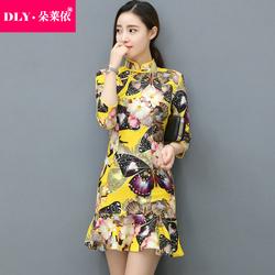 2017春装新品少女日常改良中式包臀裙荷叶边礼服 中袖旗袍连衣裙