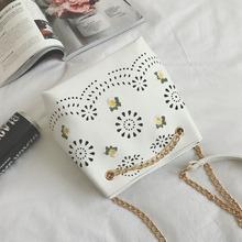 夏季小包包2017新款镂空水桶包复古刺绣单肩链条包休闲斜挎包女包