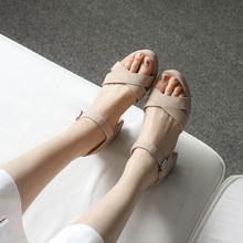 鱼嘴鞋 交叉带防水台韩版 凉鞋 粗跟017夏真皮高跟女鞋 天天特价