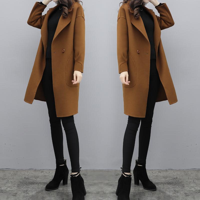 毛呢外套女秋冬2017新款中长款韩版厚羊毛茧型焦糖色呢子大衣女装