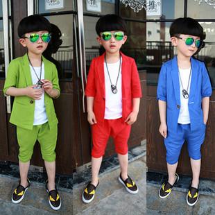 男童夏装套装3男孩短袖礼服4童装夏季5小西装6短袖夏款三件套7岁