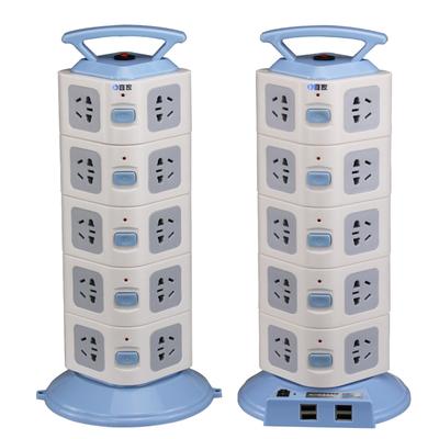 立式插座创意五层20孔带2USB立体智能插排接线板魔方电源转换器