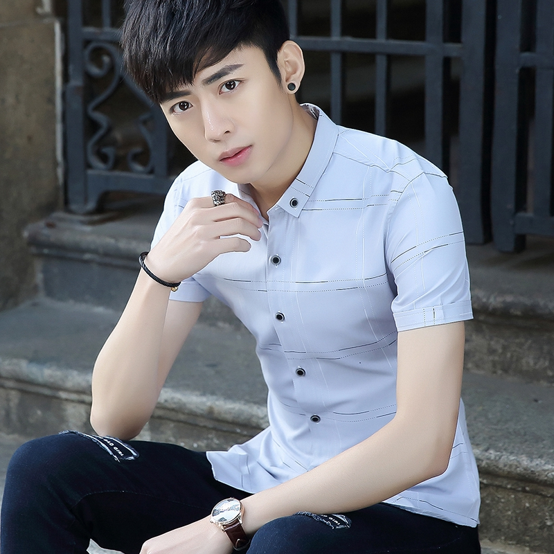 男士短袖衬衣格子男装学生条纹寸衫潮青少年衬衫夏季半袖修身
