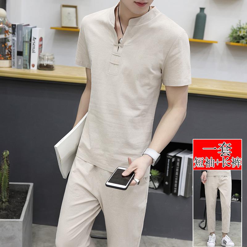 套装修身夏季帅气国风青年衣服休闲男士亚麻短袖
