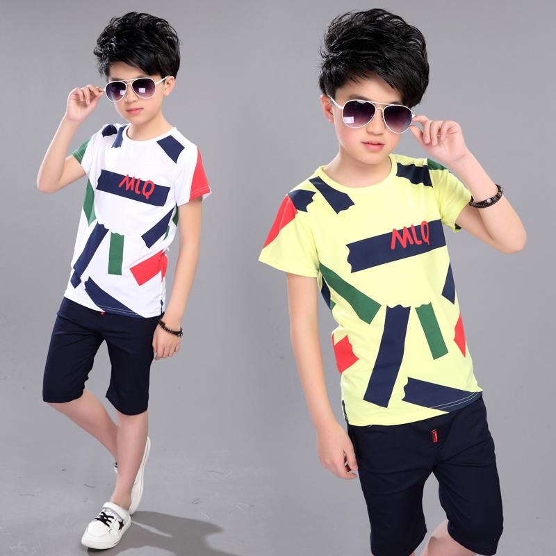 男童夏装套装儿童中大童夏季衣服两件套
