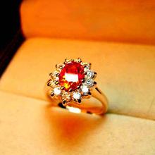 欧美个性碎水晶 戒指钻戒 流行皇冠 红蓝宝石色 饰品 简约女款