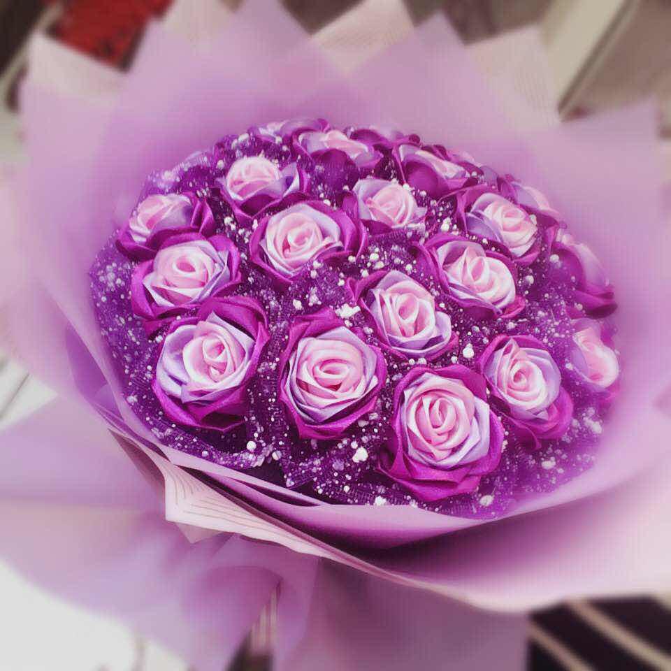 【蓝格儿】diy丝带玫瑰花束材料包仿真花请人家礼物手工花套装