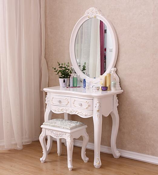 梳妆台欧式实木小户型梳妆台卧室现代简约象牙白色
