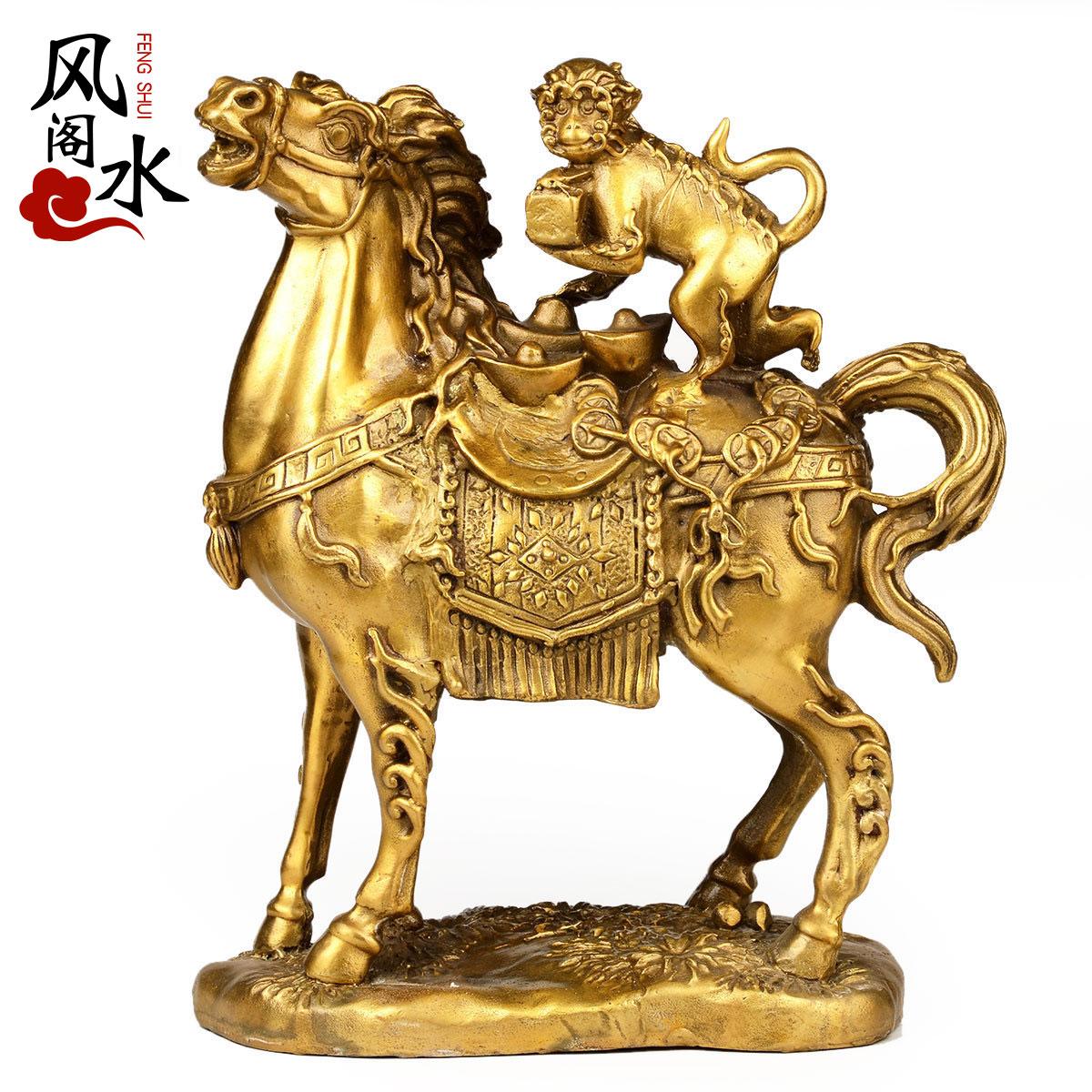 风水阁 铜马摆件马上封侯猴有钱赢办公室桌纯铜工艺品家居摆件