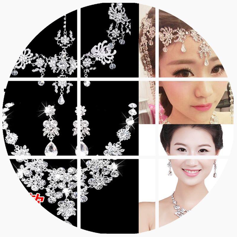 新娘流苏头饰韩式水钻额饰头花婚纱配饰结婚发饰饰品三件套套装
