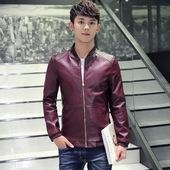 正品H361男式PU皮衣男装秋季外套韩版修身夹克男日常休闲商务茄克