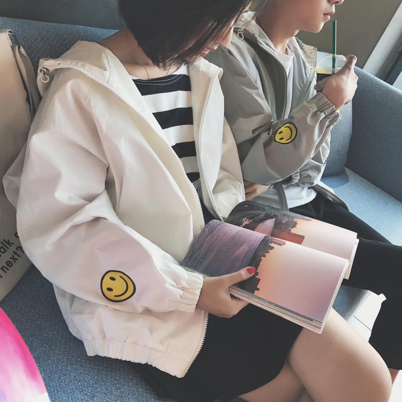 夏季休閑男韓版寬松夾克衫青少年學生潮流外套情侶防曬笑臉