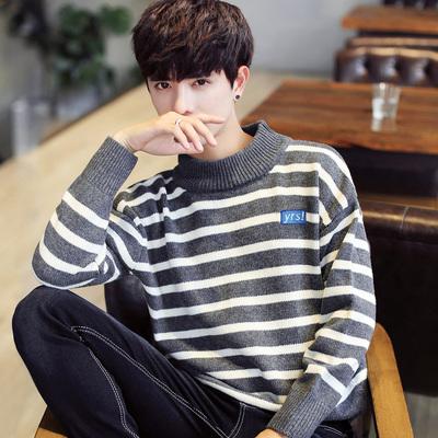 冬季男士毛衣半高领针织衫韩版打底衫宽松毛线衣潮流个性毛衫男装