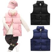 新款儿童羽绒棉马甲男女童宝宝背心秋冬季中大童加厚保暖外穿坎肩
